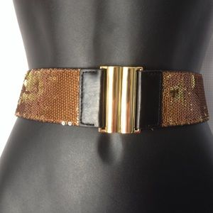 BCBG WAIST BELT BRONZE GOLD SEQUIN